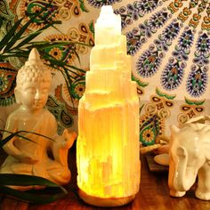 * Height: 7 - 10 inch * Include: Bulb and Wire with on/off switch. Handcrafted with extreme precision this Selenite Lamp is a piece of art. Selenite is hydrous calcium sulfa Crystal Magic, Crystal Healing, Sala Zen, Morrocan Decor, Moroccan, Selenite Lamp, Gypsum Crystal, Light Therapy, Crystals And Gemstones