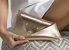 LEATHER CLUTCH BAG, Leather gold clutch , bridesmaid clutch , gold leather wallet , Black envelope pouch , gold Asymmetric clutch , gigt