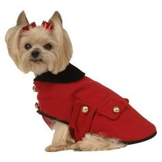 The Max's Closet Military Dog Coat is a gorgeous dog jacket designed with goldtone buttons and a velveteen collar. Secures with hook and loop fasteners. Available for dogs 3 to 19 pounds. Girl Dog Clothes, Puppy Clothes, Yorkshire Terrier, Costume Chien, Dog Tuxedo, Military Fashion, Military Style, Military Dogs, Dog Costumes