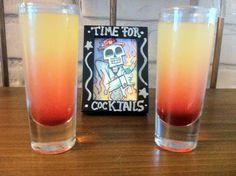 Pineapple upside down shot: 1oz whipped cream vodka,  1oz pineapple juice, 1/2 butterscotch schnapps, splash of maraschino cherry juice (or garnish with a maraschino cherry) Sake & pour in shot glass