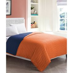 Love this could add a navy duvet over it would tie in - Navy blue and orange bedding ...