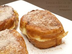 Torrijas rellenas de crema pastelera - MisThermorecetas Sweets Cake, Sweet And Salty, Flan, Food Truck, Cake Cookies, Cake Recipes, French Toast, Food And Drink, Bread