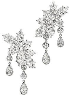 Harry Winston Diamond Earrings. #Wedding. @Celebstylewed