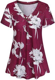 Amazon.com: Viracy Women's Short Sleeve V-Neck Casual Flowy Tunic Shirt: Clothing