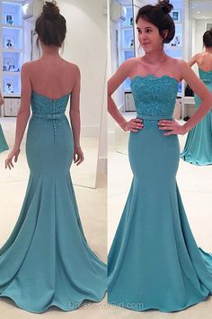 Strapless Prom Dresses, Blue Prom Dress, Satin Evening Gowns, Mermaid Party Dresses, Sweep Train Formal Dresses