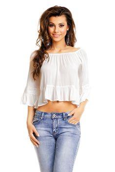 Topp May - Nella's shop Ruffle Blouse, Shoulder, Shopping, Tops, Women, Fashion, Scale Model, Moda, Fashion Styles