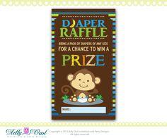 Blue Brown Boy Monkeys Diaper Raffle Tickets Printables for Baby Boy Shower DIY  - ONLY digital file - you print. $3.50, via Etsy.