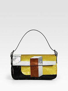 Fendi Sequined Baguette Shoulder Bag (=)