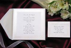 Elegant Square Wedding Invitation with Delicate Filigree Border on Bright White Card. #wedding #stationery