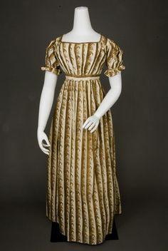 1815 ca. Cornucopia Printed Day Dress. Empire line, short sleeves. whitakerauction.smugmug.com