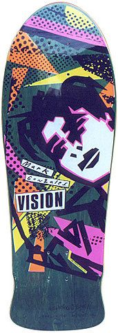 "mark gonzales Vision deck.  Bought one of these as my first ""real"" skate deck @ Ron Jon's in Florida on vacation.  It turned out to have a delaminated bubble on top and had to return it.  Should've just skated it."