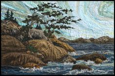 """On Georgian Bay #1  2015  36x24"""" Framed textile panel by Lorraine Roy I spent my childhood summers on Georgian Bay in Ontario... rugged and always changing, cold water, warm rocks, white pines.  $2100"""