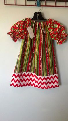 Chevron Christmas Girls Peasant Dress by LittleMissPriss1995, $22.00