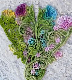 Lovely! - now to find some Venetian Lace!   Aqua Pink Yellow Hand Dyed Venise Lace Flower by RavioleeDreams, $4.00