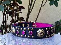Antique Brass and Fuschia Celtic Leather Dog Collar on Etsy, $55.00