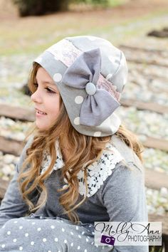 Girl's Vintage Style Cloche Hat...Grey and White Polka Dot...1920's Hat