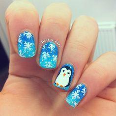 PENGUINS SNOWFLAKES by __instanails__  #nail #nails #nailart
