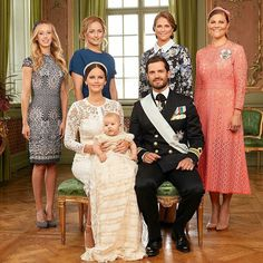 The young family are joined by (back row, left to right): Their sisters Sara Hellqvist, Lina Frejd (who is also a godmother to the young prince), Princess Madeleine of Sweden, and Crown Princess Victoria of Sweden. Front row L-R: Princess Sofia, her husband Prince Carl Philip and their son Prince Alexander of Sweden