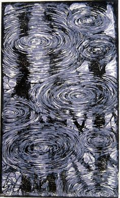 """Spring Rain"" - Linoleum Print by Andrew Jagniecki I really like this work - the lovely dark reflections under the ripples is Glorious! Arte Yin Yang, Gravure Photo, Water Art, Illustration, Art Graphique, Wood Engraving, Cultura Pop, Linocut Prints, Woodblock Print"