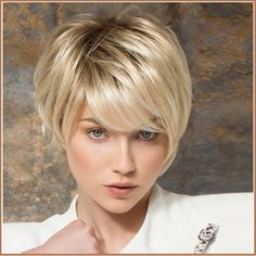 Ash Blonde Short Straight Hair with Long Bangs Pixie Style Cut Full Lace Wig Color: Blended Hair As Shown Material: Kanekalon Fiber Synthetic Hair - lace Hair full Wig. CAP TYPE: Wefted Cap with Skin Colored Top for n. - June 22 2019 at Short Straight Hair, Short Hair Cuts, Long Pixie Cut With Bangs, Short Hair Long Bangs, Thick Hair, Wavy Hair, Dyed Hair, Bob Hairstyles, Straight Hairstyles