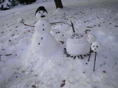 Calvin and Hobbes inspired gruesome snow sculptures! From HuffPo comedy section
