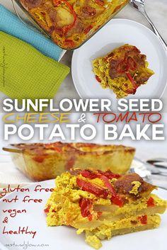 Cheap and easy to make vegan cheese and tomato potato bake. Suitable for plant-based, gluten-free, dairy-free, vegan and healthy diets. via @nestandglow