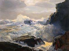 Frederick Judd Waugh - America (1861 - 1940), Marine Landscape Artist, Oil (waves, sea, ocean, rocks, water)