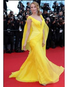 Modern V Neck Pleated Side Draped Long Yellow Chiffon Evening Dress  Celebrity Prom Dresses ede300af0