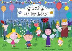 Printable Ben and Holly's Little Kingdom Inspired Digital Invitation Girl 2nd Birthday, Fairy Birthday Party, Pig Birthday, 3rd Birthday Parties, Diy Birthday Invitations, Digital Invitations, Ben And Holly Party Ideas, Ben E Holly, America Birthday