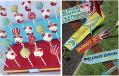 Carnival theme...love these signs and the cake pops are pretty cute too