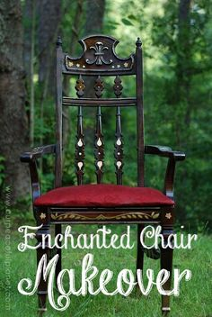 This is an old wooden chair that was given an enchanted makeover using material, paint and even some stick on jewels. It makes you feel a little more magical just sitting in it!