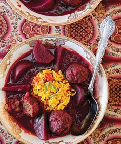 An Iraqi beet stew with tender lamb meatballs makes a hearty, colorful autumn meal.