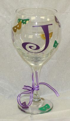 Mardi Gras Wine Glass with Initial  20 oz by TincysCorner on Etsy, $10.95
