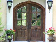 Image detail for -Old World Exterior Wood Front Entry Door Style Great Front Door! Entry Doors With Glass, Wood Entry Doors, Double Entry Doors, Glass Front Door, Glass Door, Front Entry, Front Porch, Door Design, Exterior Design