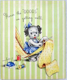 225 30s Girl Puppy Dog Seamstress Sewing Vintage Greeting Card | eBay