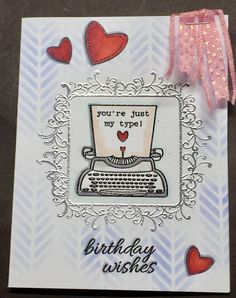 This card has been made for 5 challenges:- http://www.djkardkreations.com/2017/01/nbus-challenge-9.html (new typewriter stamp & stencil); http://tuesdaythrowdown.blogspot.ca/2017/01/tuesday-throwdown-tt327-anything-goes.html; http://dreamvalleychallenges.blogspot.ca/2017/01/challenge-148-all-about-love.html; http://addictedtostamps-challenge.blogspot.com/2017/01/challenge-226-anything-goes.html and http://sugarpeadesigns.com/blog/2017/01/18/mix-it-up-challenge-27-fresh-inspiration-2/.
