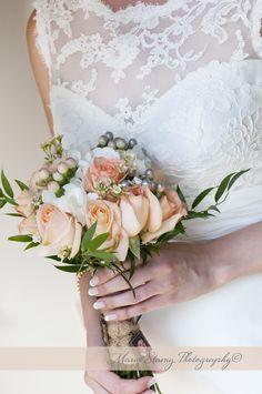 Simple, elegant, classy peach and white wedding bouquet