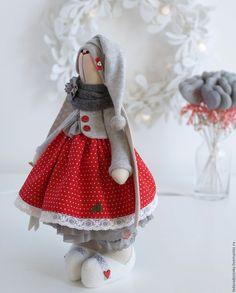"""Купить Новогодняя зайка """"Клюковка """" - текстильная игрушка 38 см - новогодняя игрушка"""