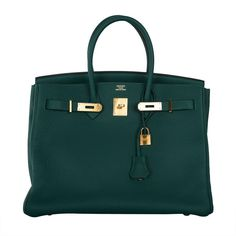 New Color Hermes Birkin Bag 35cm Malachite Gold Hardware
