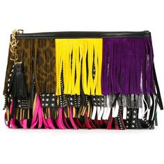 Saint Laurent fringed clutch (€760) ❤ liked on Polyvore featuring bags, handbags, clutches, black, multi colored purses, multi color purse, colorblock handbags, multi color handbag and colorblock purse