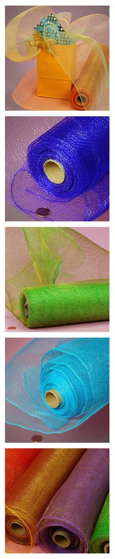 Colorful 10 yard deco mesh rolls in a variety of colors. Deco mesh can be used for wreaths, garland, gift wrap, decorations, and other craft projects. #decomesh