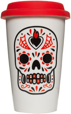 SOURPUSS SUGAR SKULL TUMBLER RED  Celebrate Dia De Muertos everyday with this colorful sugar skull tumbler! Microwave & Dishwasher safe this porcelain mug will keep your tea or coffee cozy while brightening up your day!  $14.00 #sourpuss #sourpussclothing #tumbler #sugarskull