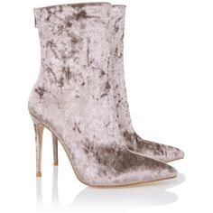 'Closure' Mink Crushed Velvet Bootie - Mistress Rocks ❤ liked on Polyvore featuring shoes, boots, ankle booties, rock boots, stiletto boots, ankle boots, stiletto bootie and stiletto ankle boots