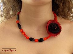 Red Coral Necklace Handmade Flower Necklace Red and Black