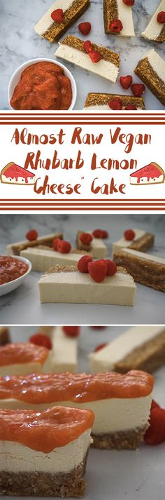 """Proud of this one! Almost raw, vegan rhubarb lemon """"cheese"""" cake. Get on it! http://www.sproutlystories.com/solid-sweet-recipes/rhubarb-lemon-cheesecake"""