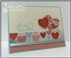 """Lots of """"Hearts a Flutter"""" on Connie's cute card! Also appearing are More Amore dsp, Sycamore Street ribbon (SAB), Hearts a Flutter framelits, Soda Pop Tops, & Vintage Faceted button."""