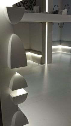multifunctional molding profile shown installed in variety of ways with LED lighting, providing a subtle