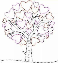Love tree String Art Templates, String Art Patterns, Seed Bead Patterns, Stencil Patterns, Card Patterns, Beading Patterns, Stitch Patterns, Tree Stencil, Stencil Diy
