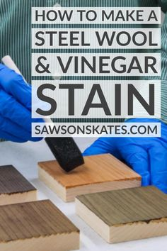 Learn how to make steel wool and vinegar stain with this step-by-step tutorial. This steel wool and vinegar stain is easy to make with just two ingredients. It's a great alternative to store-bought wood stains. Steel Wool Vinegar Stain, Diy Storage Bench Plans, Diy Furniture Plans, Painted Furniture, Garage Workshop Organization, Woodworking Projects, Wood Projects, Buy Wood, Paint Stain