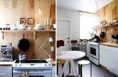 Plywood gives your kitchen a healthy dose of salvage style.